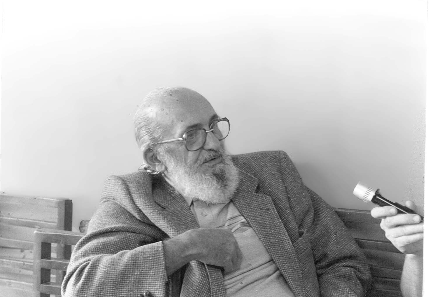 Paulo Freire Visting the Tenderloin Reflection Center circa 1983-85 at Bible Study Group at St. Boniface